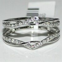 1.40 Ct Round Cut 14k White Gold Wrap Guard Enhancer Engagement Ring Over Silver