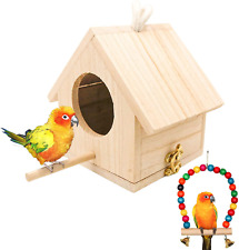Wooden Bird House with Perch, Hanging Birdhouse for Outside
