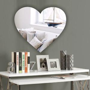 Heart Acrylic Wall Mirror *PERSONALISED4 FREE* NO Drilling Wedding Birthday Gift