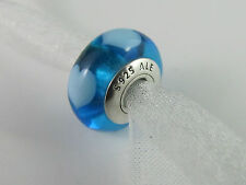 "GENUINE AUTHENTIC PANDORA ""WHITE HEARTS ON BLUE"" MURANO BEAD  (RET) 790657 ALE"