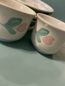 International Tableworks Stoneware Thailand 2 Cups, Tulip Watercolor