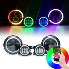 "90W CREE LED 7"" Headlights Fog Light Combo With Bluetooth RGB Halo Jeep Wrangler"