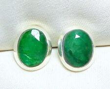 Smaragd Ohrstecker 925 Silber ca. 10 x 8 mm große, facettierte Edelsteine - neu-