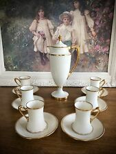 Antique Lenox Art Deco Chocolate Pot Coffee Pot w/ Cups & Saucers Old Green Mark