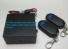 12V 30A NORMALLY-CLOSED ON-OFF relay switch with 2 remote control key fob RX1