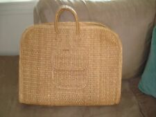 Vintage Mexican Woven Straw Weave Basket Beach Bag Shopping Tote Bag Handmade