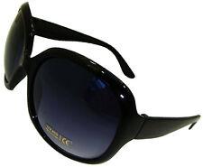 Ladies Womens Black Large Frame Vintage Retro Sunglasses Uv400