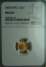 1854 Type One Liberty Head Gold One Dollar $1 - NGC MS64+