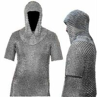 MS Butted  Chain Mail MedievalShirt and Coif Armor Set (Full Size) Fit upto 3XL