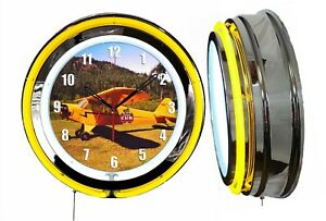 """Piper Cub 19"""" Double Neon Clock Yellow Neon Chrome Finish Airplane Aircraft"""