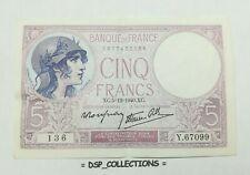 FRANCE BILLET, F.04.16 // 5 FRANCS VIOLET 5=12=1940, cote SPL 25€, #52