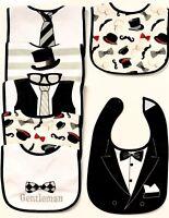 Set of 7 Baby Boy Cotton Waterproof Bib Tuxedo Formal Bow Tie Gentleman Feeding