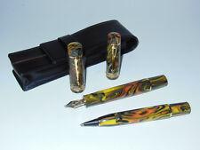 Delta Gallery Fountain Pen/Non-Stop Rollerball/Pouch Set Vermeil 14K Gold F Nib