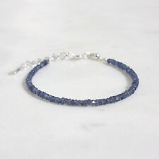 100% Natural Blue Sapphire Gemstone Facted Beads Bracelet 6inch