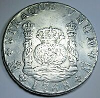 1768 Mexico Silver 8 Reales 1700's Spanish Colonial Pillar Dollar Pirate Coin