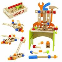 Wooden Toys Workbench Kids Tools Construction Toy Tool Kit Educational Toys for