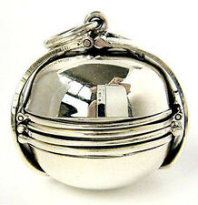 MEDIUM PHOTO BALL LOCKET STERLING 925 SILVER PENDANT FAMILY PICTURE JEWELRY