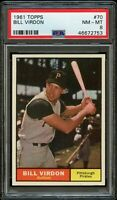 1961 Topps BB Card # 70 Bill Virdon Pittsburgh Pirates PSA NM-MT 8 !!!!
