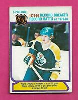 1980-81 OPC  # 3 OILERS WAYNE GRETZKY RECORD BREAKER VG+ CARD (INV# D1953)