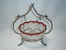 ANTIQUE c 1902-1912 RUBY FLASH PRESSED GLASS SUGAR BOWL IN SILVER PLATE STAND