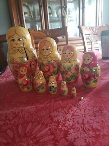 Ten Peice Matryoshka Nesting Doll Handpainted