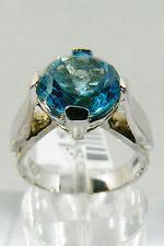3  CTW GENUINE ROUND CUT BLUE TOPAZ & INLAY DIAMOND WHITE 14K GOLD RING NEW $999