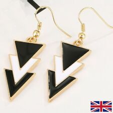 Women's Gold Black and White Low Drop Earrings- Free P&P UK Seller