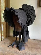 Early Antique Ladies Black White Calico Cardboard Staved Bonnet Textile AAFA
