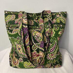Vera Bradley Tote Shoulder Bag Green Paisley