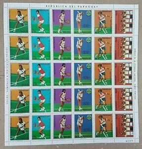 EC122 1986 PARAGUAY SPORT TENNIS WORLD CUP MICHEL 16 EU BIG SH FOLDED IN 2 MNH