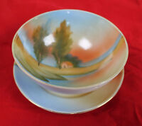 Vintage Hand Painted Three Legged Porcelain Bowl and Saucer - Made in Japan