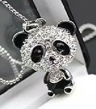 Crystal Rhinestone Panda Bear Pendant Necklace Black & Silver Mother's Day Mum