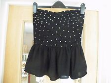 SIZE L (S) FOREVER 21 BLACK/SILVER  BANDEAU/TUBE TOP 100% POLYESTER NWT B4