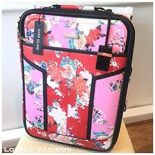 River Island NEW Red Pink Floral Suitcase Weekend Bag Cabin Flowers 695442