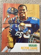 1982 NOTRE DAME FOOTBALL VS MIAMI FOOTBALL PROGRAM SIGNED HOWARD SCHNELLENBERGER