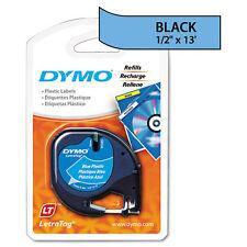 Dymo 91335 LetraTag Labelmaker Plastic Tape Black on Blue LT Labels