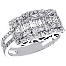 14K White Gold Round & Baguette Diamond Tiered Square Cocktail Ring 0.87 CT.