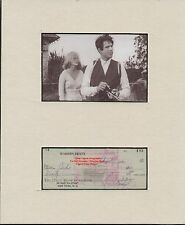 WARREN BEATY Early BEATTY Film Actor Hand Signed Bank Cheque/Check 1960 DISPLAY