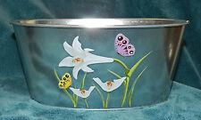 Small Metal Oval Planter/Bucket! New! Lilies Butterflies
