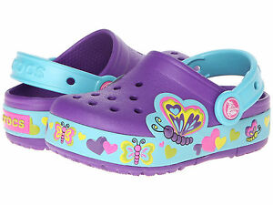 Crocs LIGHT UP Butterfly Clogs Shoes Sandals Sneakers Blue/Purple Girl 3 youth