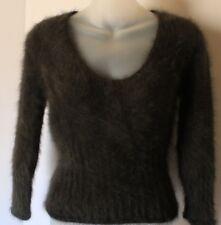 Express 80% Angora Women's Sweater Brown Fuzzy Soft V Neck - Size Small