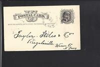 ROSLYN, NEW YORK 1880 GOVERNMENT POSTAL CARD, FANCY CL, NASSAU CO.1844/OP.