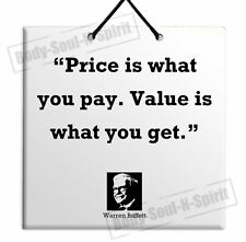 SALE Warren Buffett Quote Wooden Wall Hanging Plaque TILE Home Decor Gift Sign