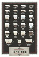 Espresso Variationen Blechschild Schild gewölbt Metal Tin Sign 20 x 30 cm