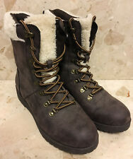 WOMEN'S BROWN FAUX LEATHER/FLEECE ANKLE BOOTS (SIZE 5) - Rocket Dog Winter Shoes