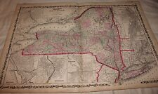 1861 LARGE RARE JOHNSON ORIGINAL ANTIQUE ATLAS MAP New York Syracuse Rochester