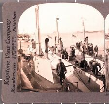 WWI Stereoview card:  American Submarines, Battleships & Torpedo Boats