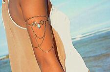Women Girls Imitation Turquoise Arm Cuff band Armlet Body Chain Tassel Jewellery