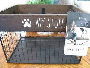 """New RAE DUNN Dog """"My Stuff"""" Toys Tote Basket--Dog Mom & Dad will Love it!"""
