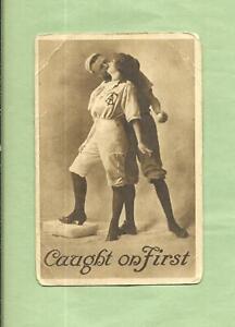 BASEBALL PLAYER KISSES Lovley LADY On Wonderful Vintage 100 Yr. Old Postcard